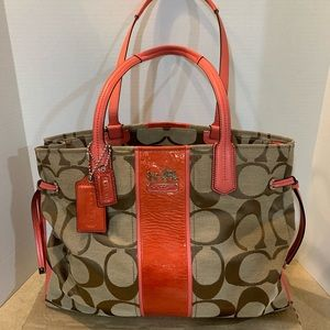 Coach coral and tan tote. Like new!!